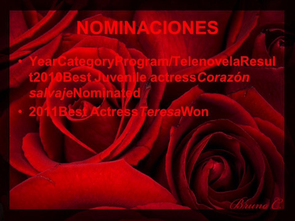 NOMINACIONES YearCategoryProgram/TelenovelaResul t2010Best Juvenile actressCorazón salvajeNominated 2011Best ActressTeresaWon