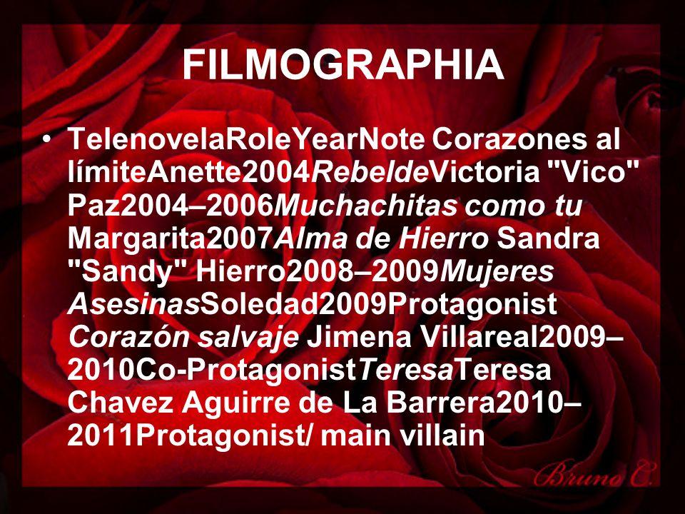 FILMOGRAPHIA TelenovelaRoleYearNote Corazones al límiteAnette2004RebeldeVictoria