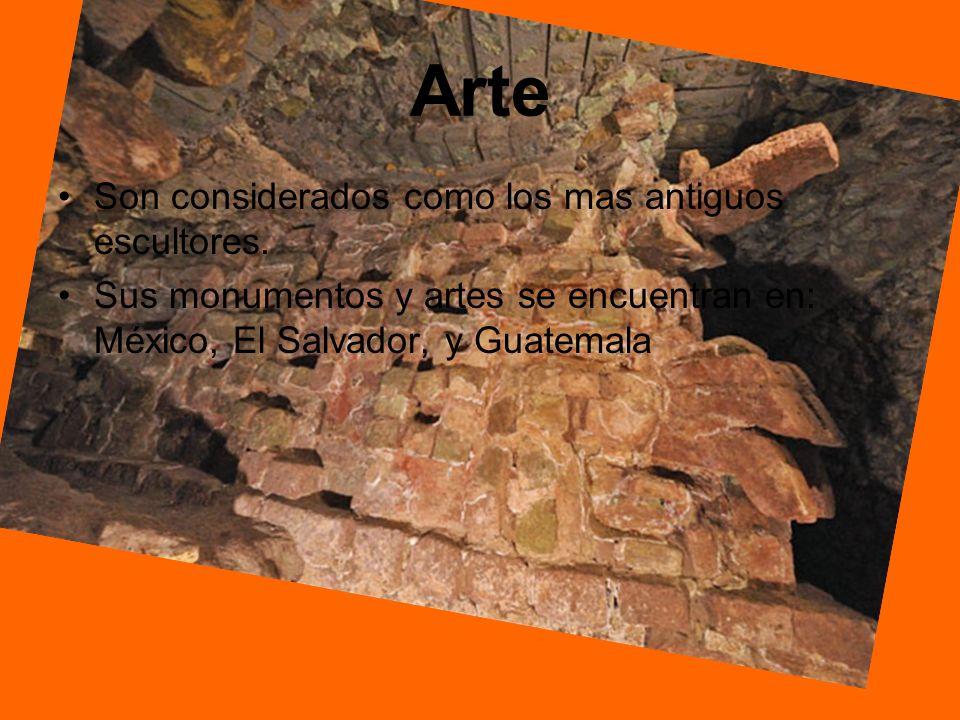 Arte Son considerados como los mas antiguos escultores. Sus monumentos y artes se encuentran en: México, El Salvador, y Guatemala