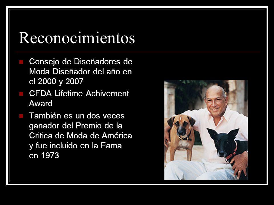 Reconocimientos Consejo de Diseñadores de Moda Diseñador del año en el 2000 y 2007 CFDA Lifetime Achivement Award También es un dos veces ganador del