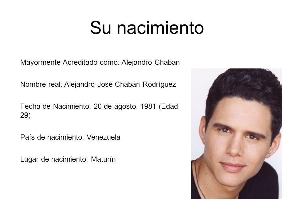 Su nacimiento Mayormente Acreditado como: Alejandro Chaban Nombre real: Alejandro José Chabán Rodríguez Fecha de Nacimiento: 20 de agosto, 1981 (Edad