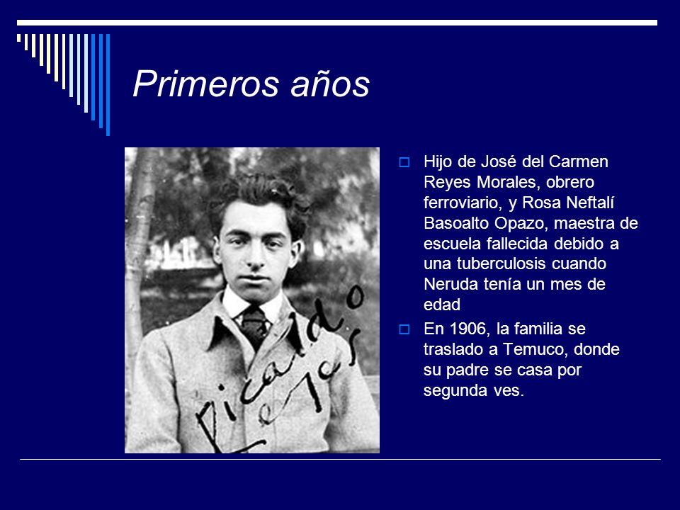 Primeros años Hijo de José del Carmen Reyes Morales, obrero ferroviario, y Rosa Neftalí Basoalto Opazo, maestra de escuela fallecida debido a una tube