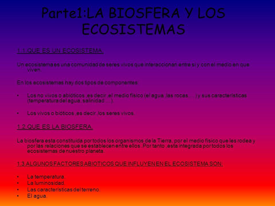 Parte1:LA BIOSFERA Y LOS ECOSISTEMAS 1.1.QUE ES UN ECOSISTEMA. Un ecosistema es una comunidad de seres vivos que interaccionan entre si y con el medio