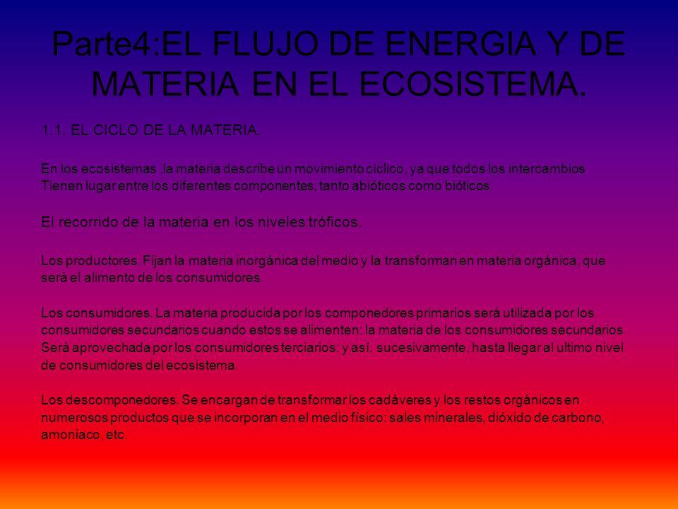 Parte4:EL FLUJO DE ENERGIA Y DE MATERIA EN EL ECOSISTEMA. 1.1. EL CICLO DE LA MATERIA. En los ecosistemas,la materia describe un movimiento cíclico, y