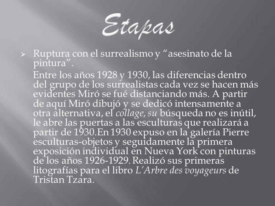 Ruptura con el surrealismo y asesinato de la pintura. Entre los años 1928 y 1930, las diferencias dentro del grupo de los surrealistas cada vez se hac