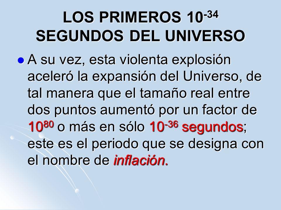 LOS PRIMEROS 10 -34 SEGUNDOS DEL UNIVERSO A su vez, esta violenta explosión aceleró la expansión del Universo, de tal manera que el tamaño real entre