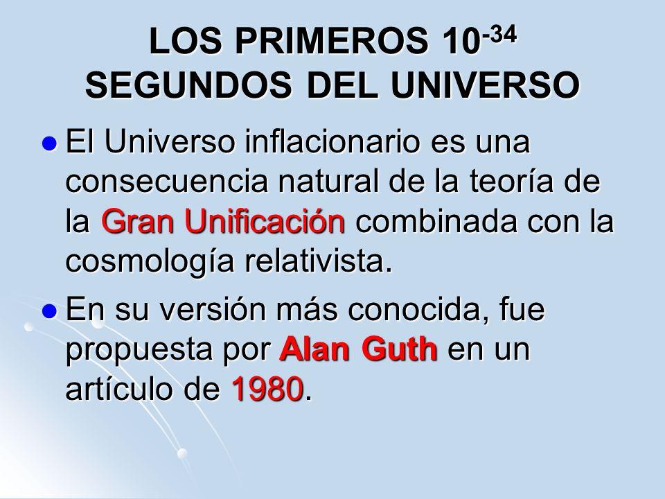 LOS PRIMEROS 10 -34 SEGUNDOS DEL UNIVERSO El Universo inflacionario es una consecuencia natural de la teoría de la Gran Unificación combinada con la c
