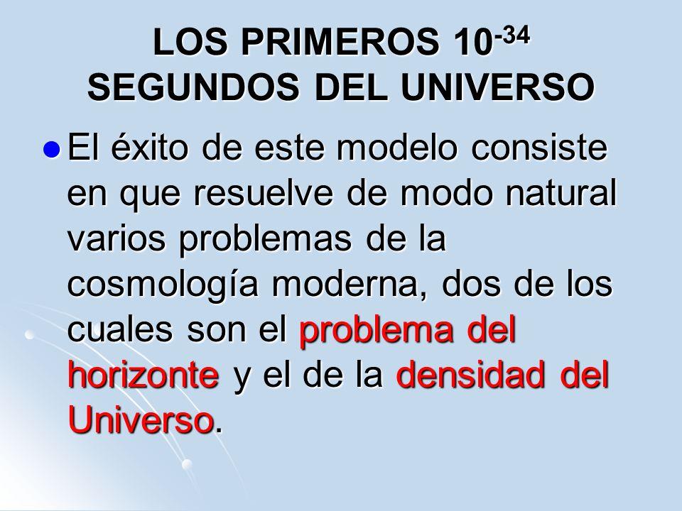 LOS PRIMEROS 10 -34 SEGUNDOS DEL UNIVERSO El éxito de este modelo consiste en que resuelve de modo natural varios problemas de la cosmología moderna,