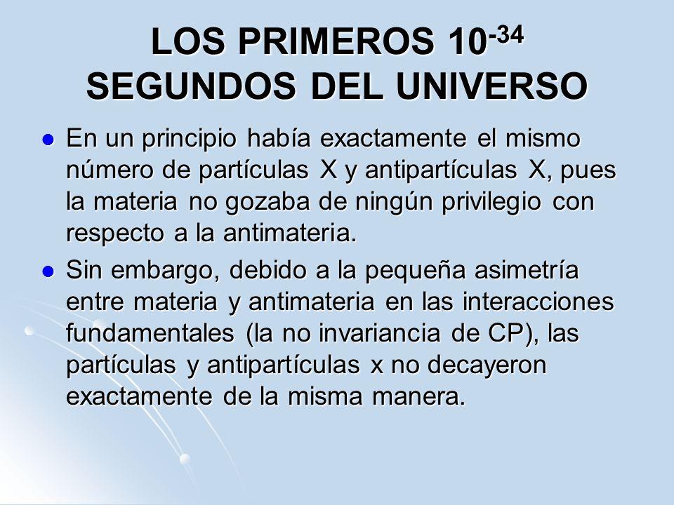 LOS PRIMEROS 10 -34 SEGUNDOS DEL UNIVERSO En un principio había exactamente el mismo número de partículas X y antipartículas X, pues la materia no goz