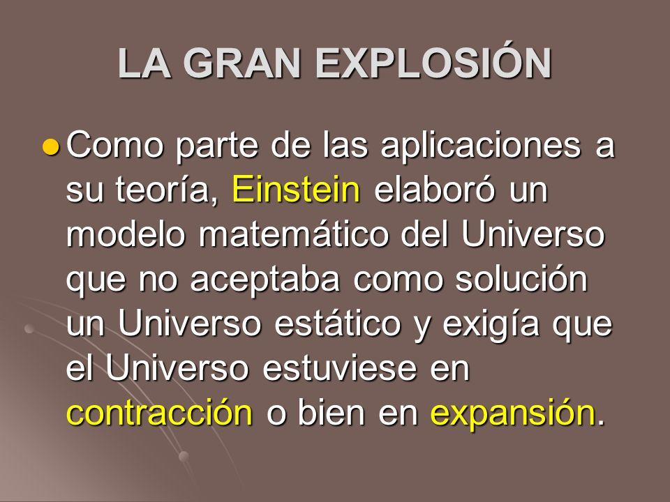 LA GRAN EXPLOSIÓN Como parte de las aplicaciones a su teoría, Einstein elaboró un modelo matemático del Universo que no aceptaba como solución un Univ