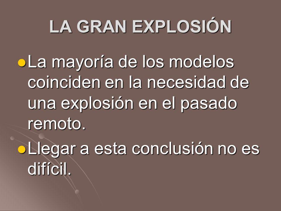 LA GRAN EXPLOSIÓN La mayoría de los modelos coinciden en la necesidad de una explosión en el pasado remoto. La mayoría de los modelos coinciden en la