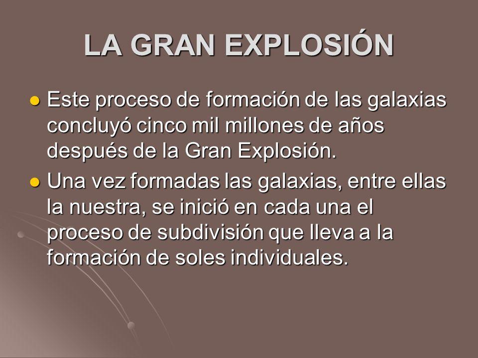 LA GRAN EXPLOSIÓN Este proceso de formación de las galaxias concluyó cinco mil millones de años después de la Gran Explosión. Este proceso de formació