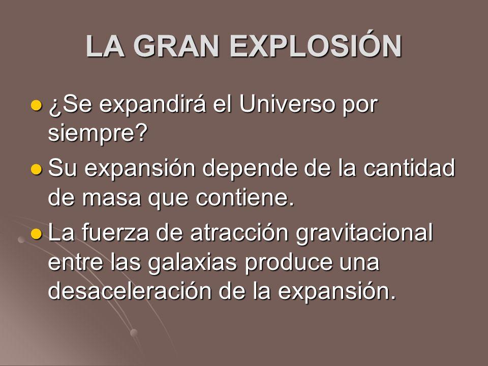 LA GRAN EXPLOSIÓN ¿Se expandirá el Universo por siempre? ¿Se expandirá el Universo por siempre? Su expansión depende de la cantidad de masa que contie