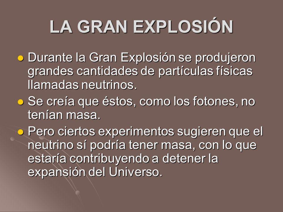 LA GRAN EXPLOSIÓN Durante la Gran Explosión se produjeron grandes cantidades de partículas físicas llamadas neutrinos. Durante la Gran Explosión se pr