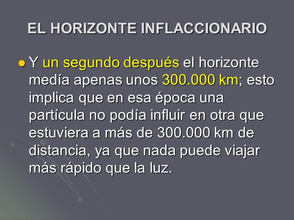 EL HORIZONTE INFLACCIONARIO Y un segundo después el horizonte medía apenas unos 300.000 km; esto implica que en esa época una partícula no podía influ
