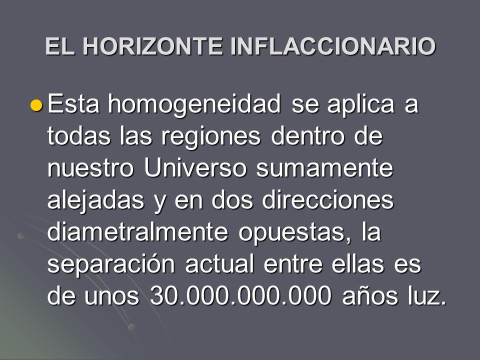 EL HORIZONTE INFLACCIONARIO Esta homogeneidad se aplica a todas las regiones dentro de nuestro Universo sumamente alejadas y en dos direcciones diamet