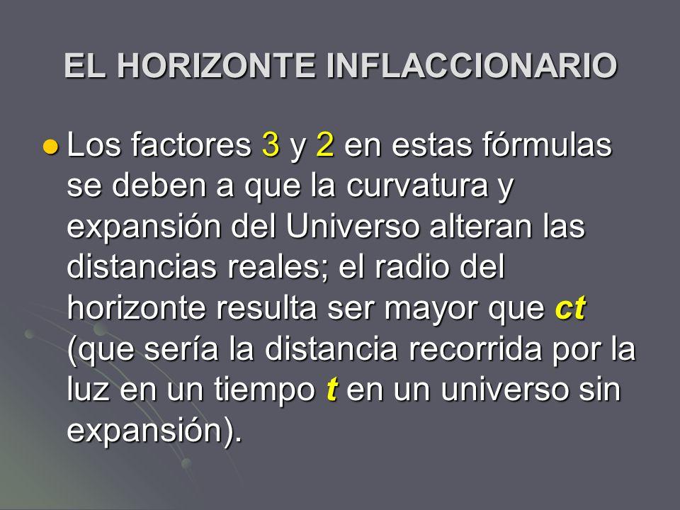 EL HORIZONTE INFLACCIONARIO Los factores 3 y 2 en estas fórmulas se deben a que la curvatura y expansión del Universo alteran las distancias reales; e