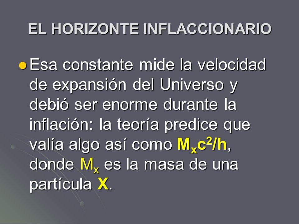 EL HORIZONTE INFLACCIONARIO Esa constante mide la velocidad de expansión del Universo y debió ser enorme durante la inflación: la teoría predice que v