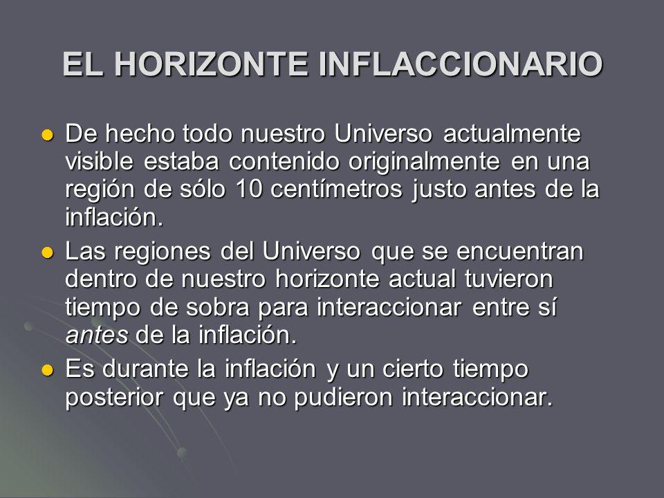 EL HORIZONTE INFLACCIONARIO De hecho todo nuestro Universo actualmente visible estaba contenido originalmente en una región de sólo 10 centímetros jus