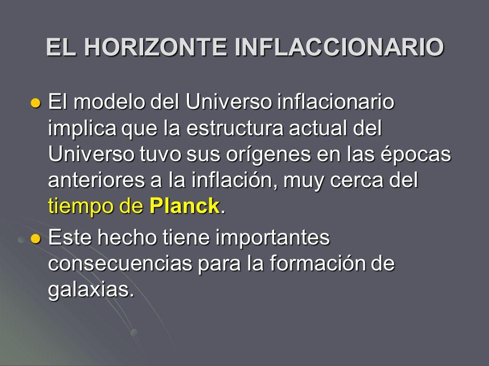 EL HORIZONTE INFLACCIONARIO El modelo del Universo inflacionario implica que la estructura actual del Universo tuvo sus orígenes en las épocas anterio