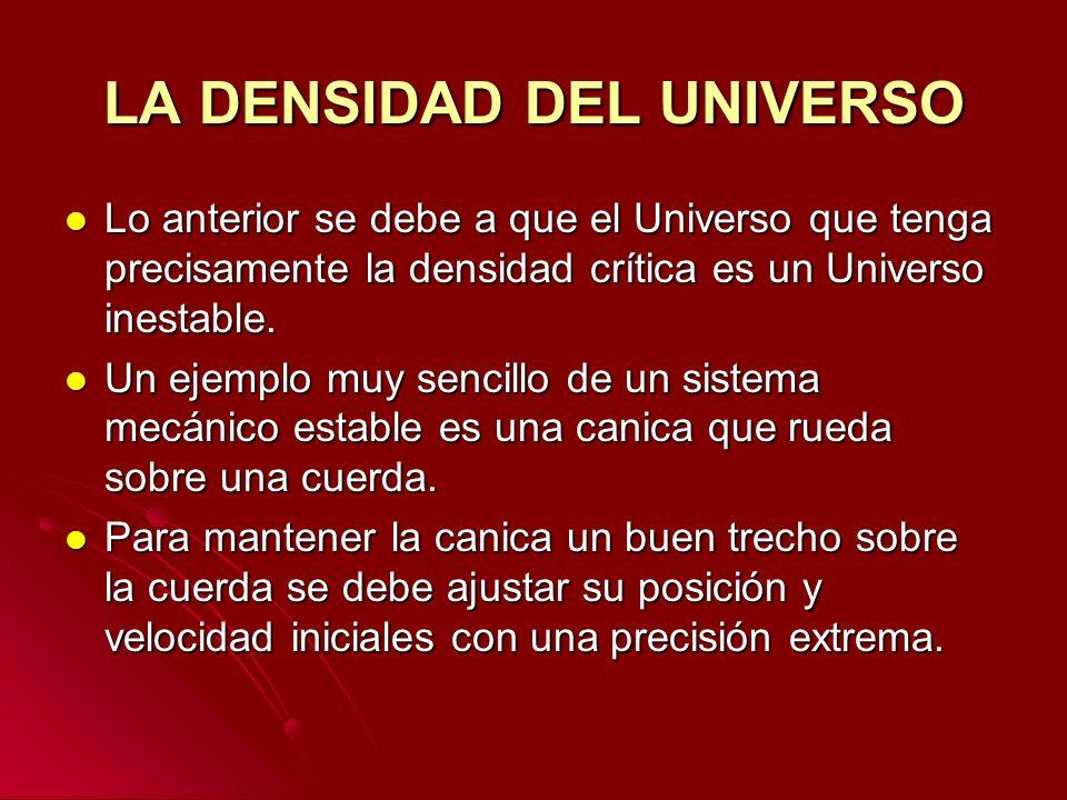 LA DENSIDAD DEL UNIVERSO Lo anterior se debe a que el Universo que tenga precisamente la densidad crítica es un Universo inestable. Lo anterior se deb