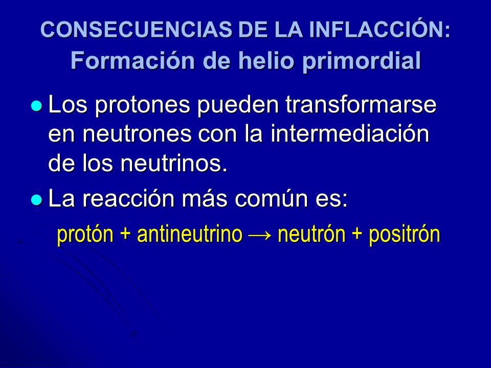 CONSECUENCIAS DE LA INFLACCIÓN: Formación de helio primordial Los protones pueden transformarse en neutrones con la intermediación de los neutrinos. L