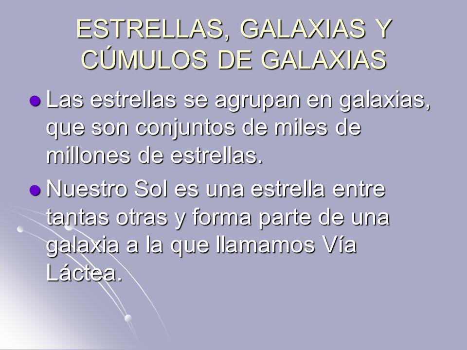 ESTRELLAS, GALAXIAS Y CÚMULOS DE GALAXIAS Las estrellas se agrupan en galaxias, que son conjuntos de miles de millones de estrellas. Las estrellas se