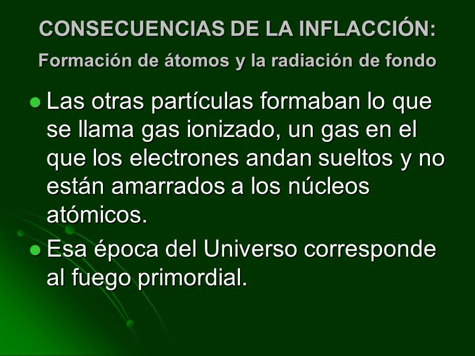 CONSECUENCIAS DE LA INFLACCIÓN: Formación de átomos y la radiación de fondo Las otras partículas formaban lo que se llama gas ionizado, un gas en el q