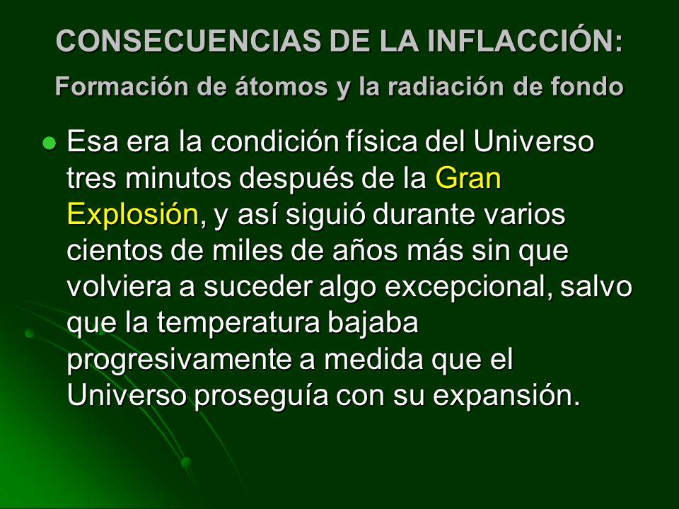 CONSECUENCIAS DE LA INFLACCIÓN: Formación de átomos y la radiación de fondo Esa era la condición física del Universo tres minutos después de la Gran E