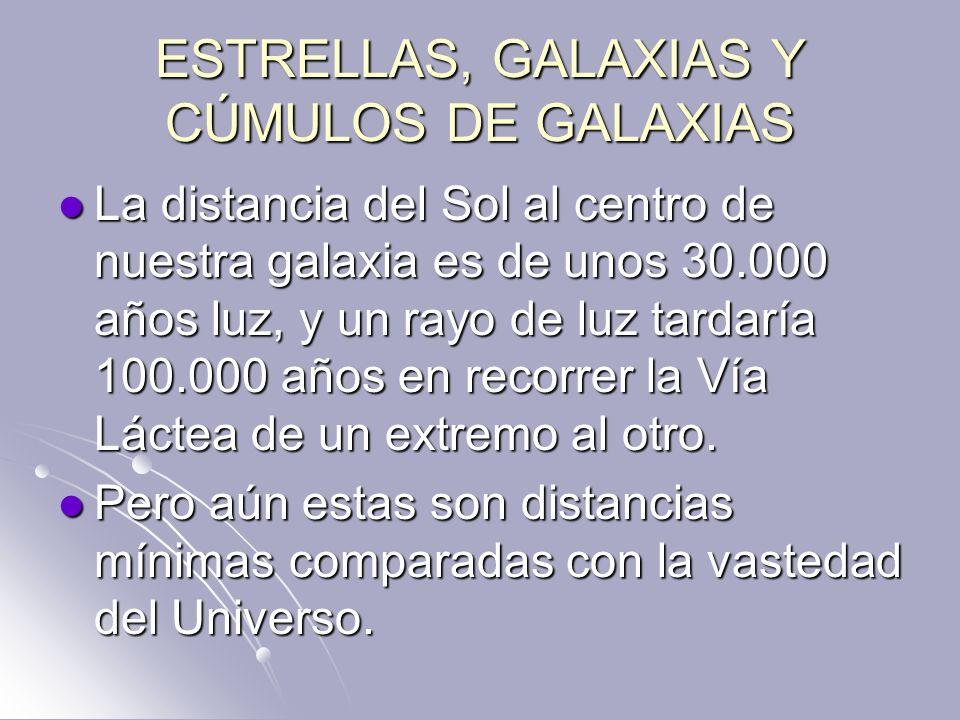 ESTRELLAS, GALAXIAS Y CÚMULOS DE GALAXIAS La distancia del Sol al centro de nuestra galaxia es de unos 30.000 años luz, y un rayo de luz tardaría 100.