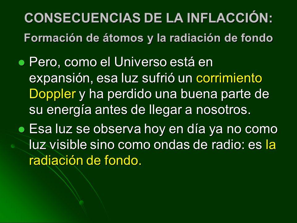 CONSECUENCIAS DE LA INFLACCIÓN: Formación de átomos y la radiación de fondo Pero, como el Universo está en expansión, esa luz sufrió un corrimiento Do