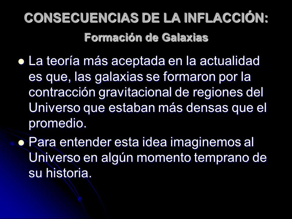 CONSECUENCIAS DE LA INFLACCIÓN: Formación de Galaxias La teoría más aceptada en la actualidad es que, las galaxias se formaron por la contracción grav