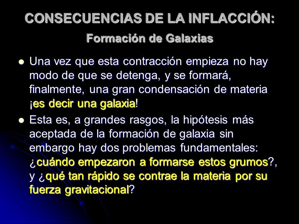 CONSECUENCIAS DE LA INFLACCIÓN: Formación de Galaxias Una vez que esta contracción empieza no hay modo de que se detenga, y se formará, finalmente, un