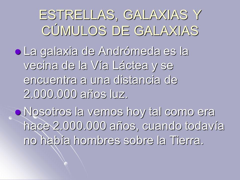 ESTRELLAS, GALAXIAS Y CÚMULOS DE GALAXIAS La galaxia de Andrómeda es la vecina de la Vía Láctea y se encuentra a una distancia de 2.000.000 años luz.
