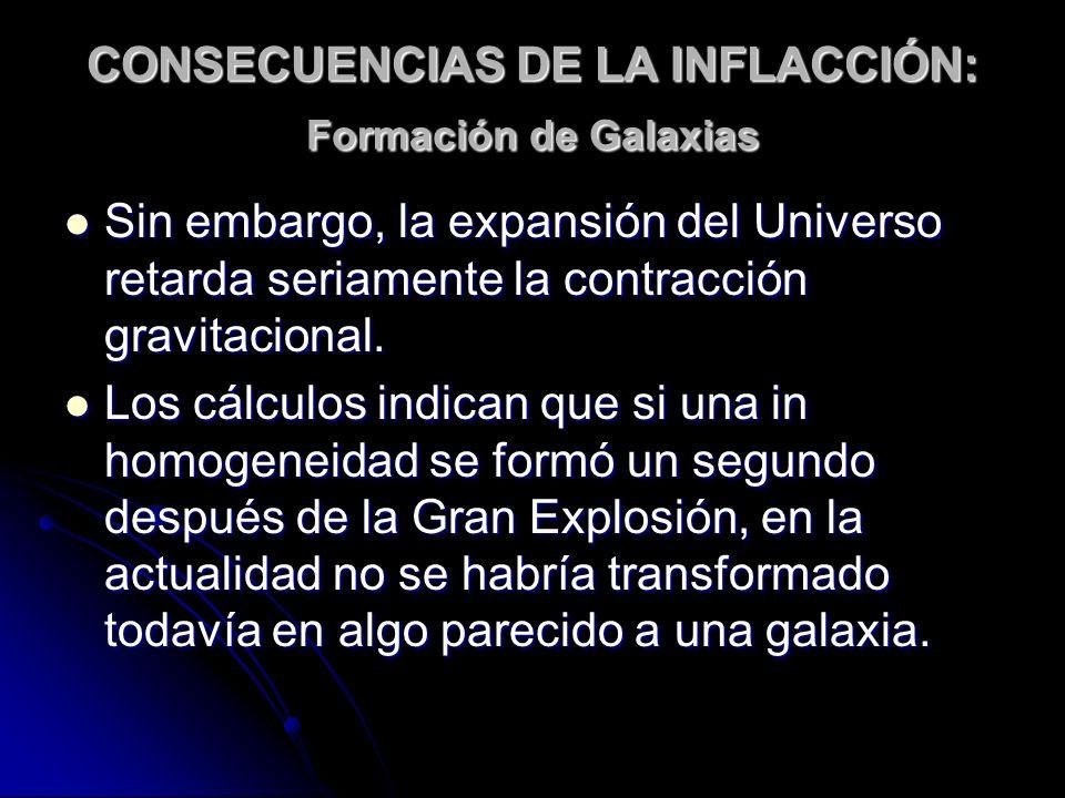 CONSECUENCIAS DE LA INFLACCIÓN: Formación de Galaxias Sin embargo, la expansión del Universo retarda seriamente la contracción gravitacional. Sin emba