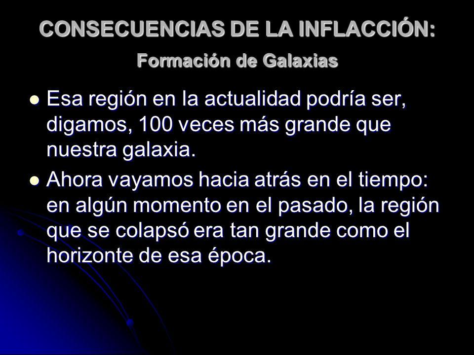 CONSECUENCIAS DE LA INFLACCIÓN: Formación de Galaxias Esa región en la actualidad podría ser, digamos, 100 veces más grande que nuestra galaxia. Esa r