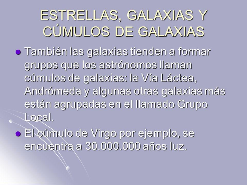 ESTRELLAS, GALAXIAS Y CÚMULOS DE GALAXIAS También las galaxias tienden a formar grupos que los astrónomos llaman cúmulos de galaxias: la Vía Láctea, A