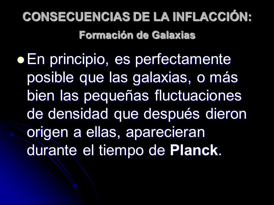 CONSECUENCIAS DE LA INFLACCIÓN: Formación de Galaxias En principio, es perfectamente posible que las galaxias, o más bien las pequeñas fluctuaciones d