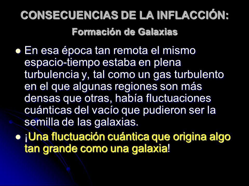 CONSECUENCIAS DE LA INFLACCIÓN: Formación de Galaxias En esa época tan remota el mismo espacio-tiempo estaba en plena turbulencia y, tal como un gas t