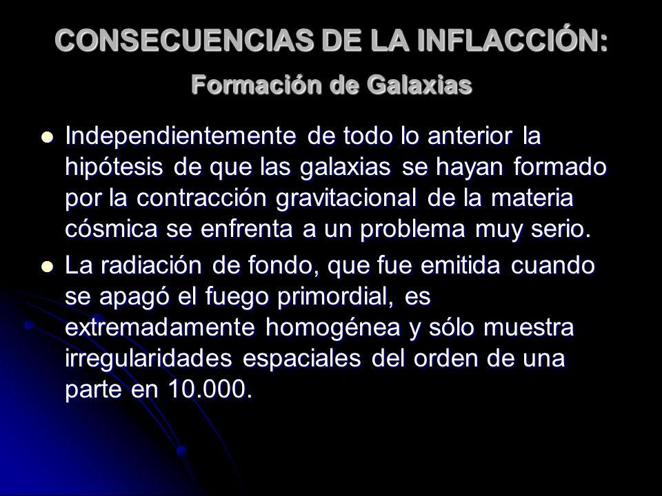 CONSECUENCIAS DE LA INFLACCIÓN: Formación de Galaxias Independientemente de todo lo anterior la hipótesis de que las galaxias se hayan formado por la