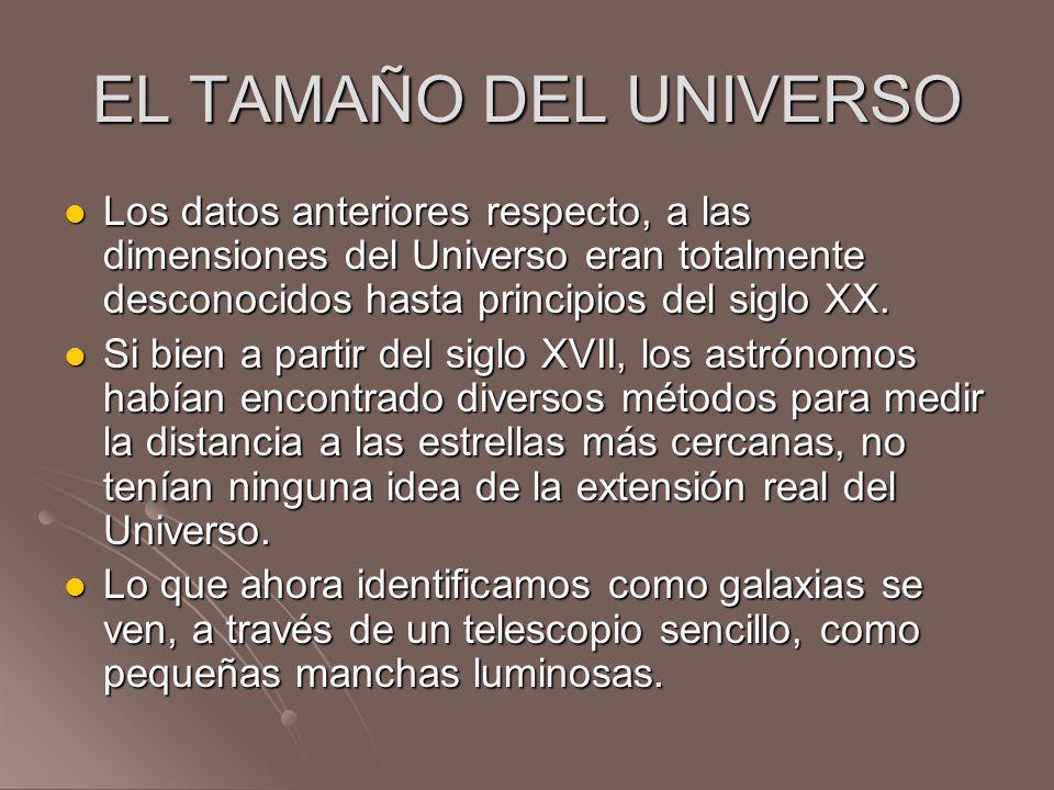 EL TAMAÑO DEL UNIVERSO Los datos anteriores respecto, a las dimensiones del Universo eran totalmente desconocidos hasta principios del siglo XX. Los d