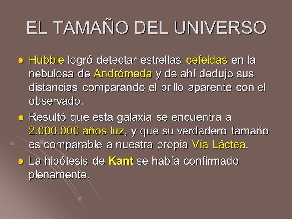 EL TAMAÑO DEL UNIVERSO Hubble logró detectar estrellas cefeidas en la nebulosa de Andrómeda y de ahí dedujo sus distancias comparando el brillo aparen