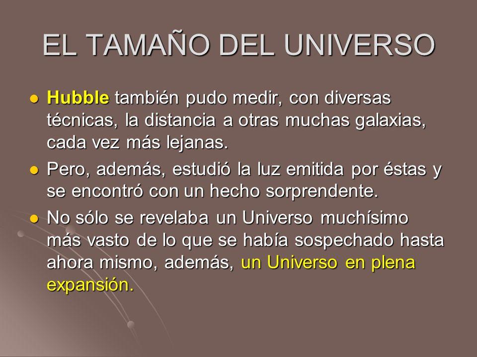 EL TAMAÑO DEL UNIVERSO Hubble también pudo medir, con diversas técnicas, la distancia a otras muchas galaxias, cada vez más lejanas. Hubble también pu