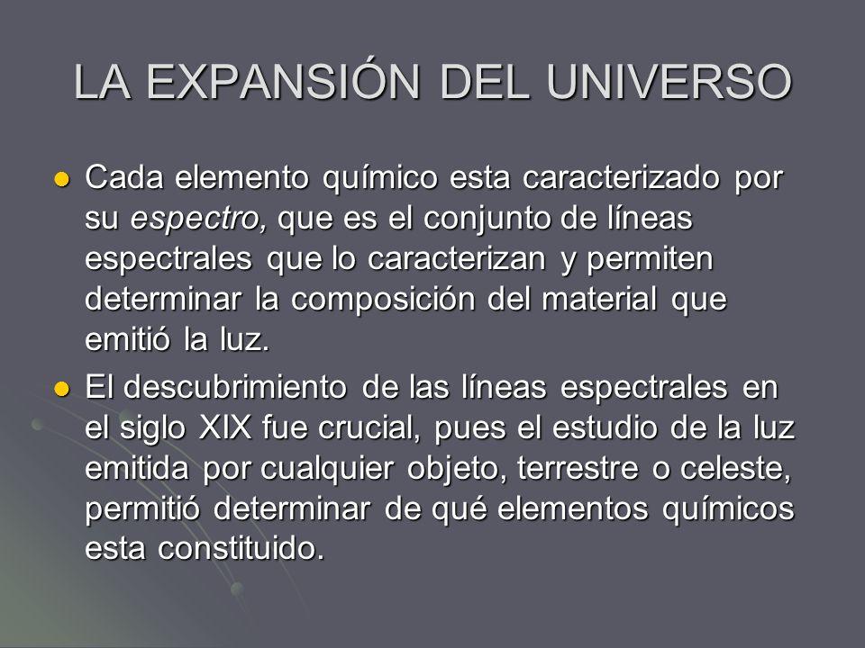 LA EXPANSIÓN DEL UNIVERSO Cada elemento químico esta caracterizado por su espectro, que es el conjunto de líneas espectrales que lo caracterizan y per
