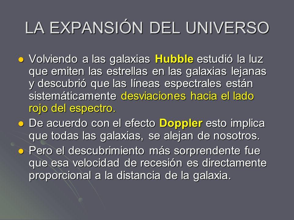 LA EXPANSIÓN DEL UNIVERSO Volviendo a las galaxias Hubble estudió la luz que emiten las estrellas en las galaxias lejanas y descubrió que las líneas e
