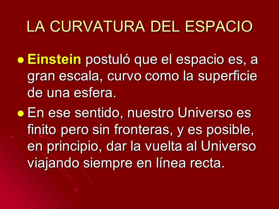 LA CURVATURA DEL ESPACIO Einstein postuló que el espacio es, a gran escala, curvo como la superficie de una esfera. Einstein postuló que el espacio es