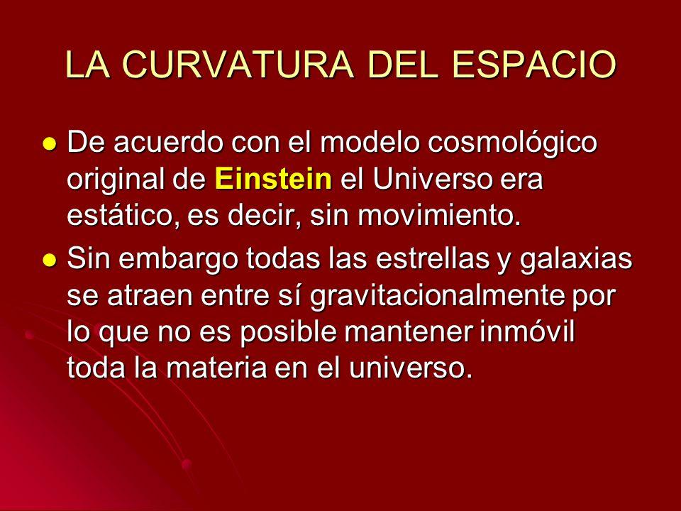 LA CURVATURA DEL ESPACIO De acuerdo con el modelo cosmológico original de Einstein el Universo era estático, es decir, sin movimiento. De acuerdo con