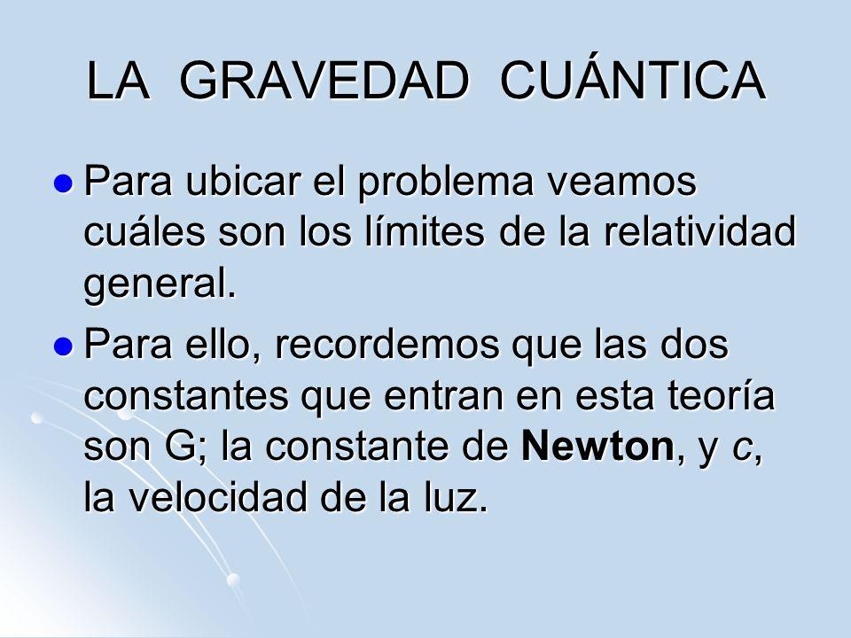 LA GRAVEDAD CUÁNTICA Para ubicar el problema veamos cuáles son los límites de la relatividad general. Para ubicar el problema veamos cuáles son los lí