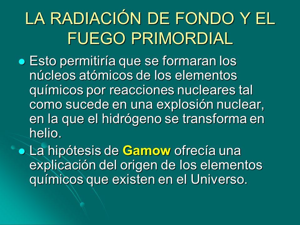 LA RADIACIÓN DE FONDO Y EL FUEGO PRIMORDIAL Esto permitiría que se formaran los núcleos atómicos de los elementos químicos por reacciones nucleares ta
