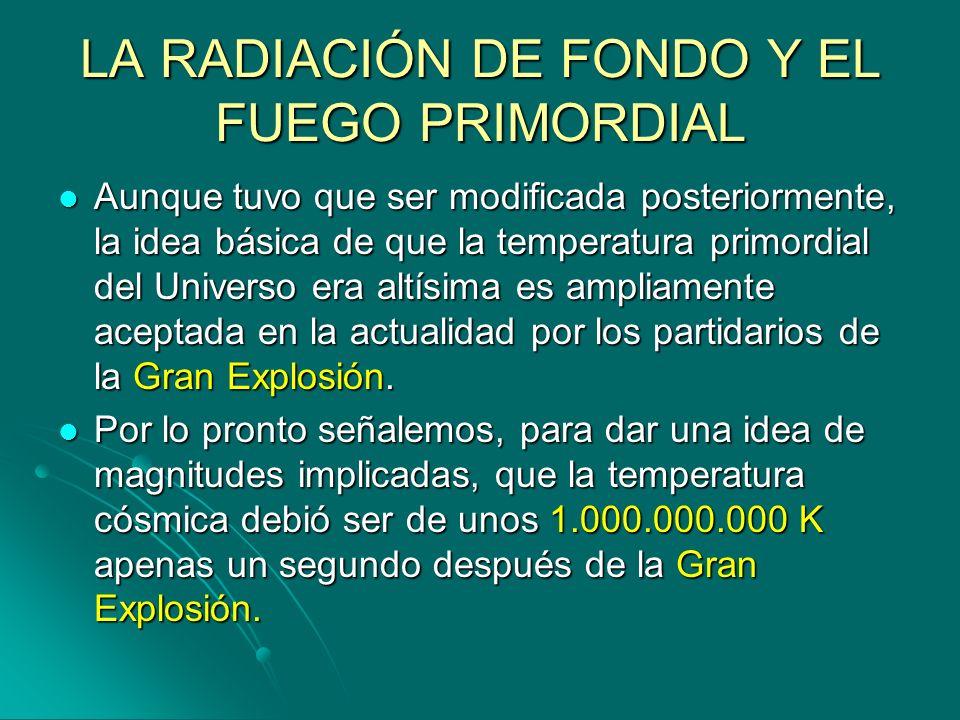 LA RADIACIÓN DE FONDO Y EL FUEGO PRIMORDIAL Aunque tuvo que ser modificada posteriormente, la idea básica de que la temperatura primordial del Univers